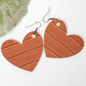 Neutral Colored Vegan Leather Heart Earrings